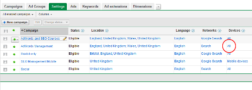 Google AdWords settings screen