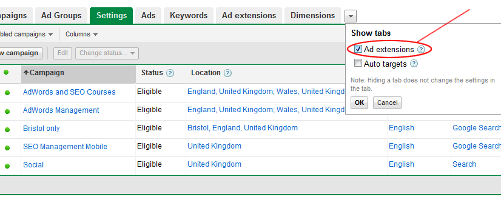 Google AdWords Ad Extension tab