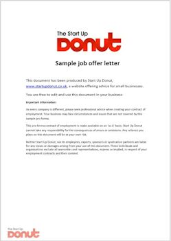 Job offer letter template | Startup Donut
