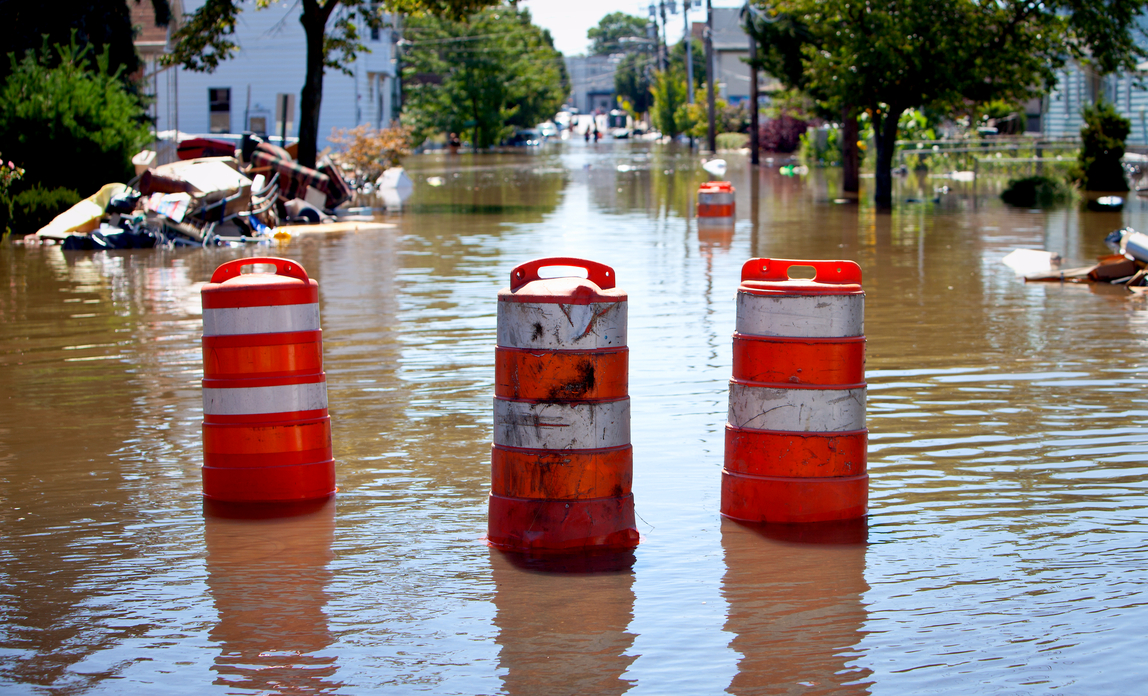 Flooded street - Obtaining flood insurance in high-risk areas