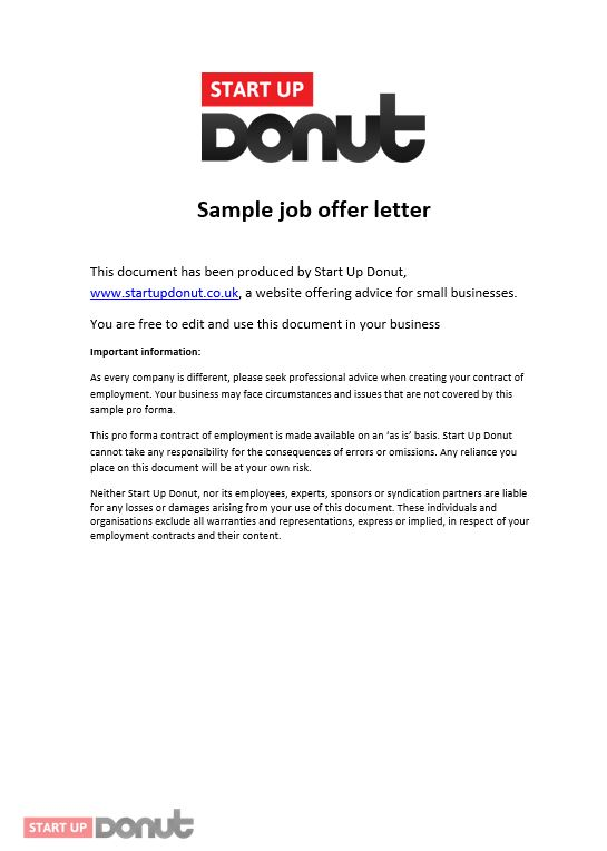 Job Offer Letter Of Intent Sample