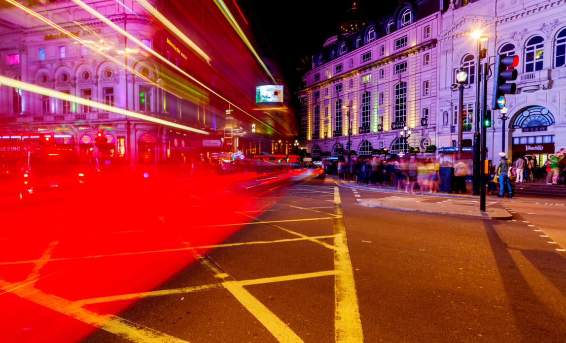 London bus shot at night on a slow shutter speed