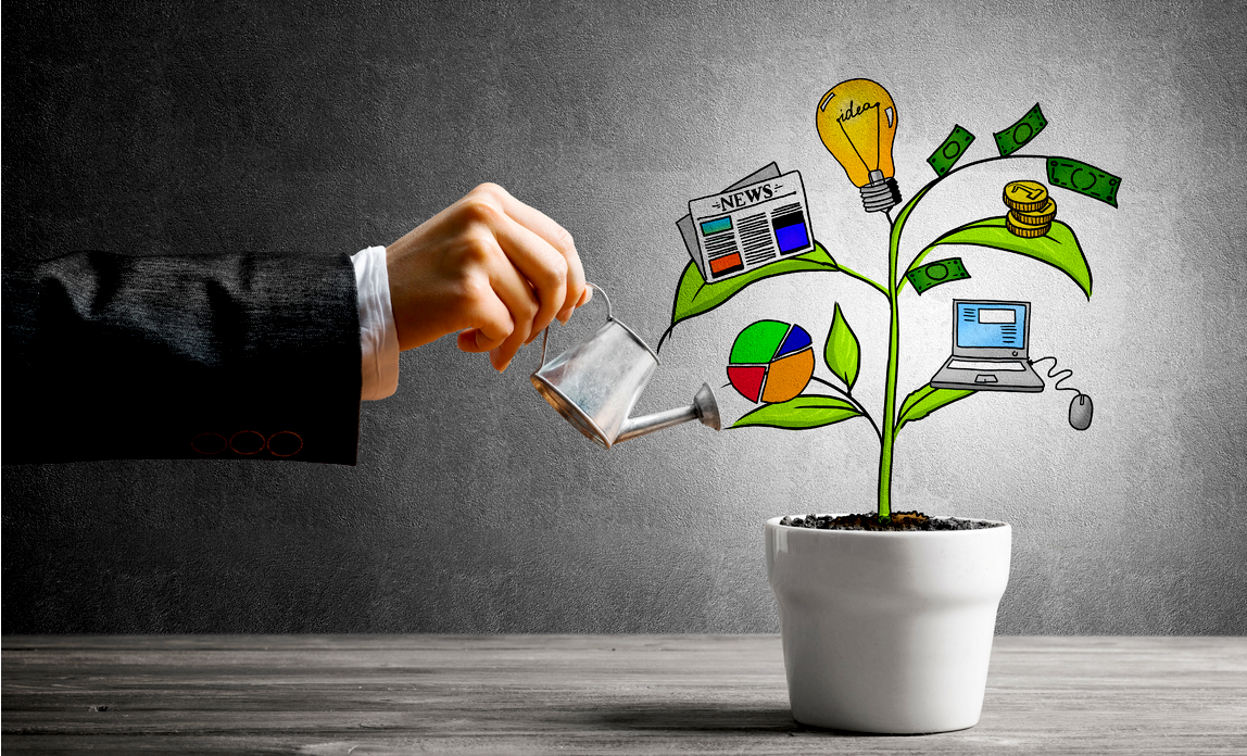 A business man is watering a cartoon plant with images representing different aspects of a business