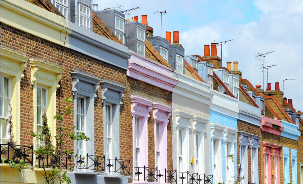 Terraced houses on one of the London roads