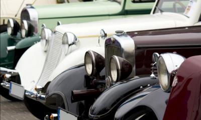 Line of vintage classic cars