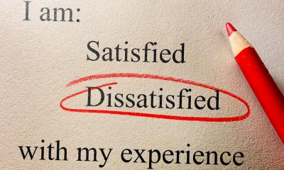 The word 'dissatisfied' circled by a red pencil
