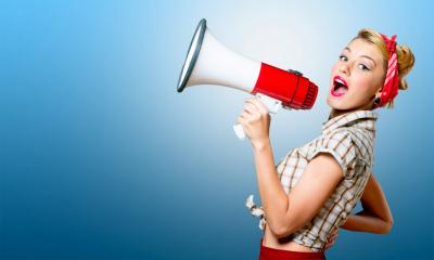 Woman with megaphone - how I publicise my business
