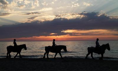 Three people trekking on ponies along a beach with the sunset in background