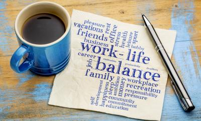 Work-life balance writing on a piece of paper