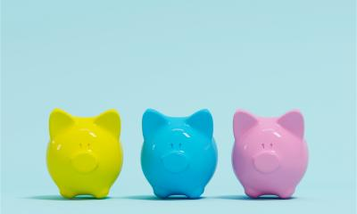 Row of coloured piggy banks to represent different sources of start up funding
