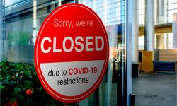 Company closed due to COVID-19 lockdown, temporarily closed sign